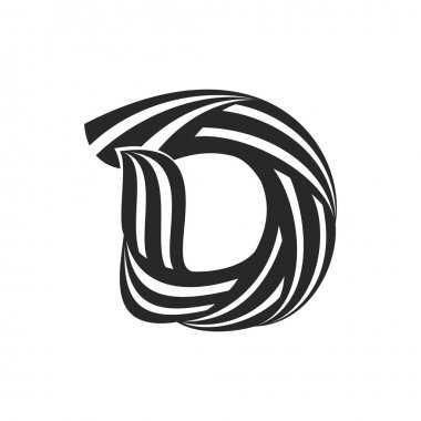 D letter  formed by twisted lines.
