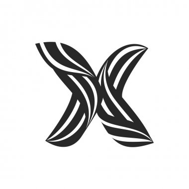 X letter  formed by twisted lines.