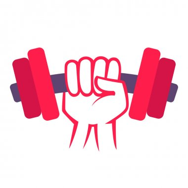 hand with dumbbell logo