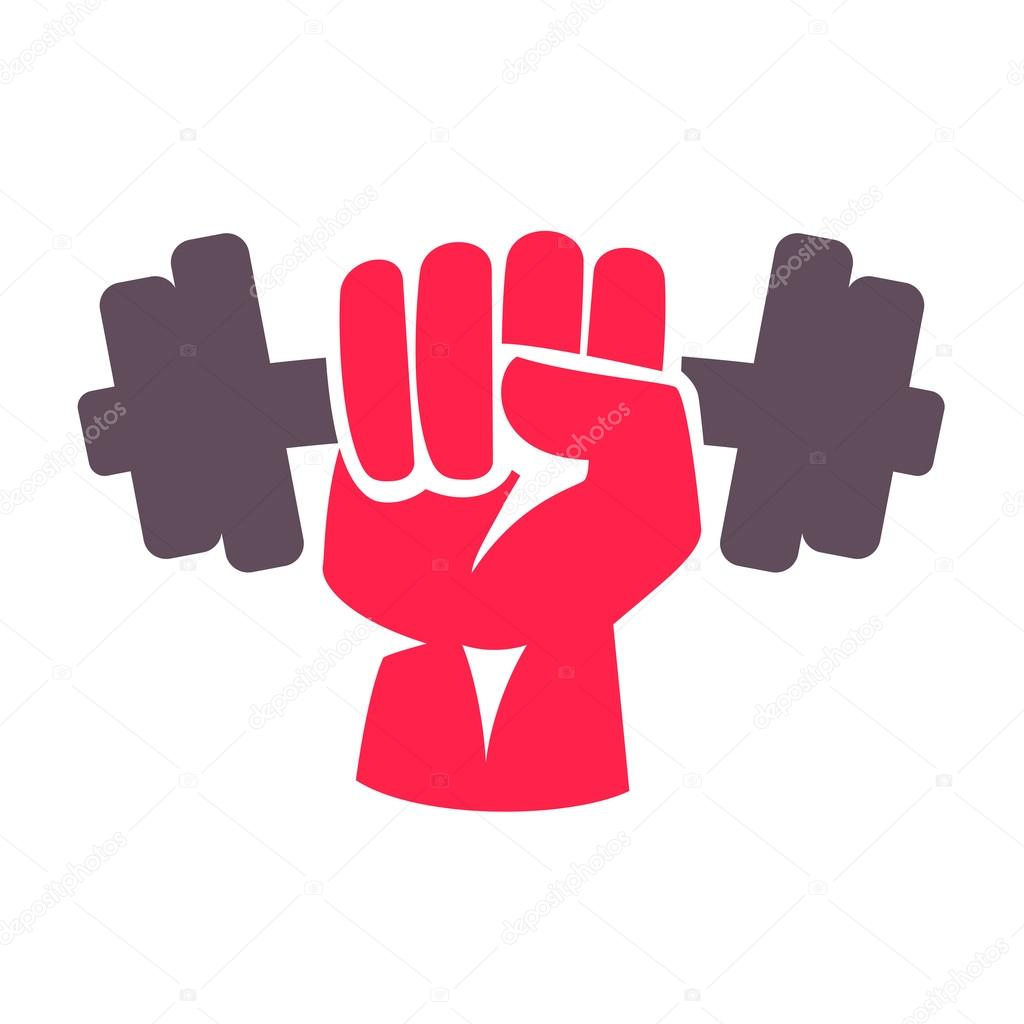 hand with dumbbell logo — Stock Vector © kaer_dstock #96212638