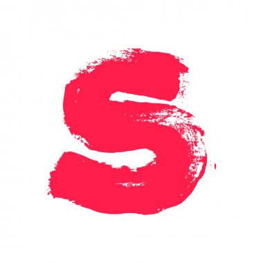 S letter painted with a dry brush.