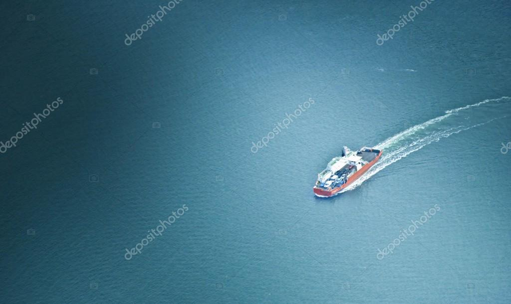 Aerial view on ship in sea