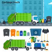 Fényképek Garbage truck az utcán, kukák közelében