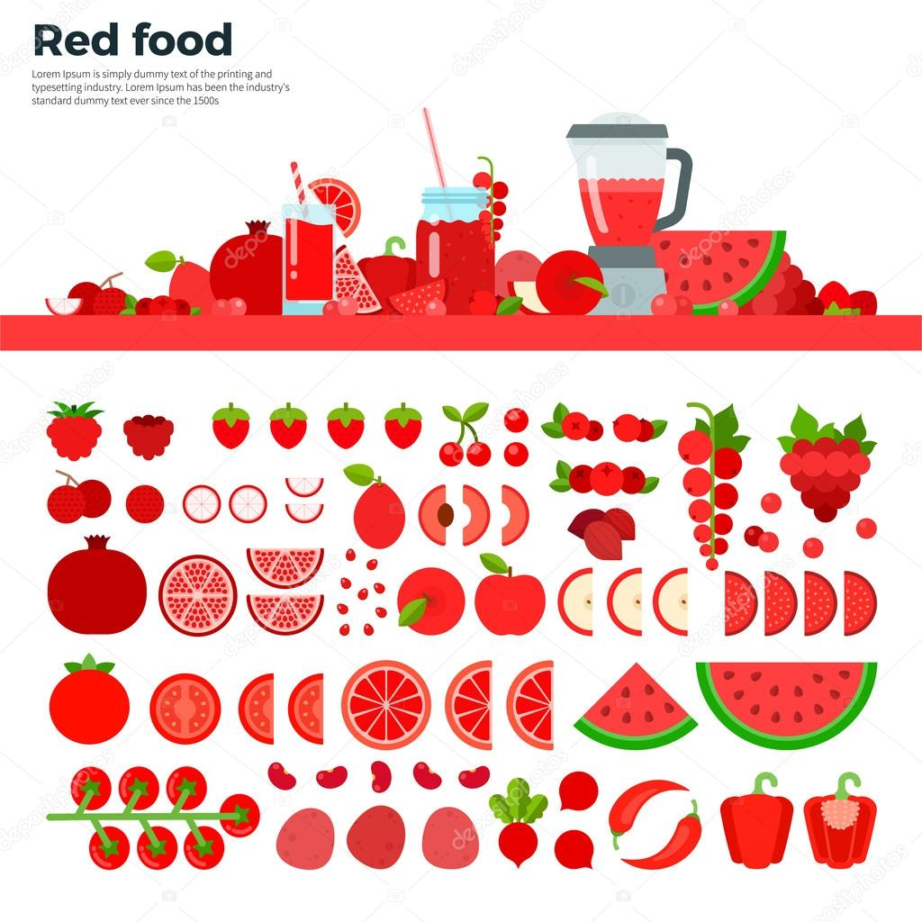 Red healthy food on the table