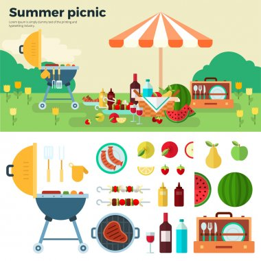 Summer Picnic on Meadow under Umbrella