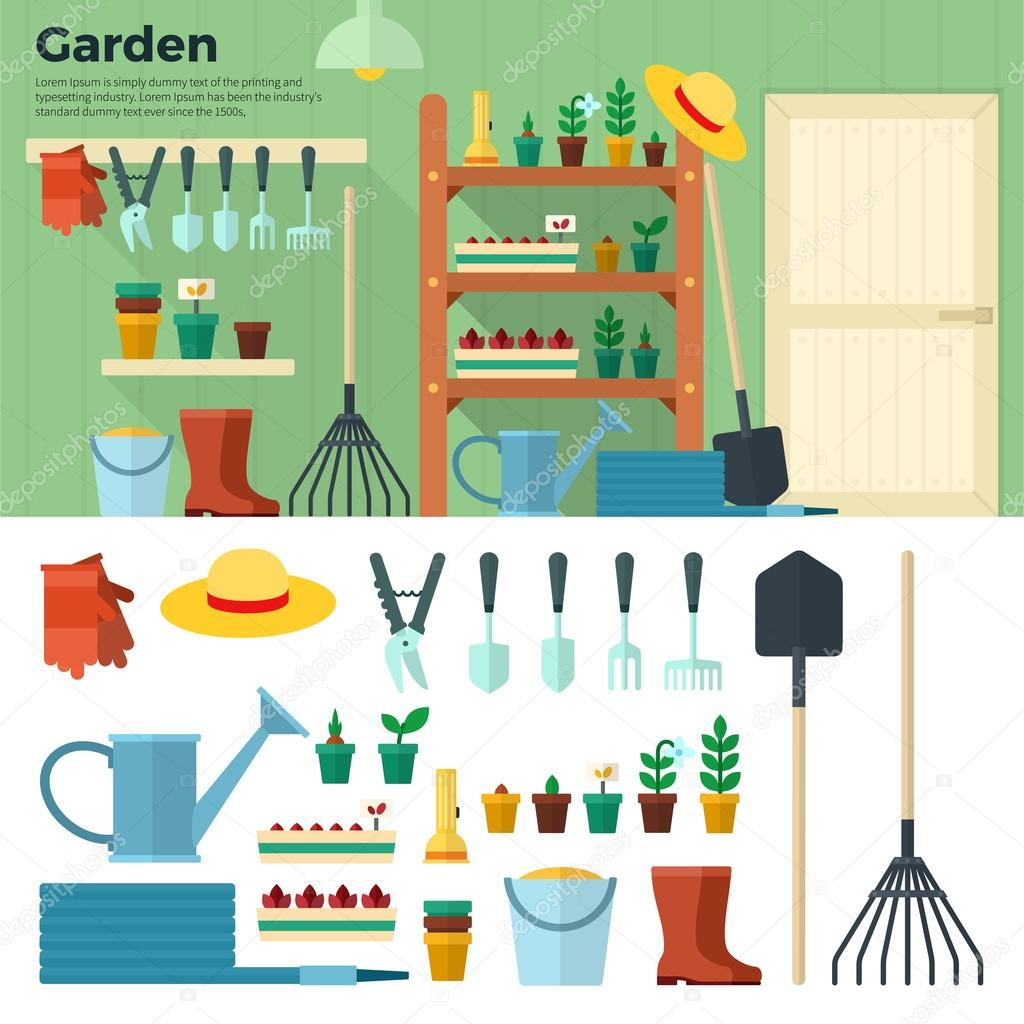 Concept of Gardening. Tools for Working in Garden