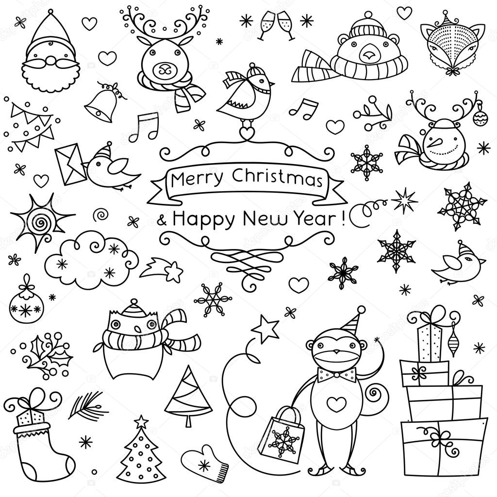 Vector Black And White Merry Christmas Happy New Year Celebration Design Elements Stock