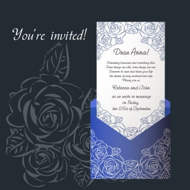 Wedding invitation envelope blue color with roses