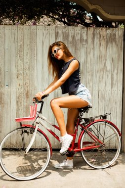 Amazing woman ride bicycle