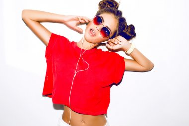 Elegant sexy woman with earphones