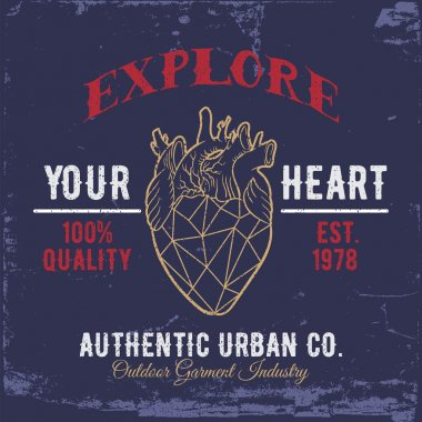 Explore Your Heart.Print for shirts.