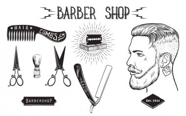 Barber shop vintage set.