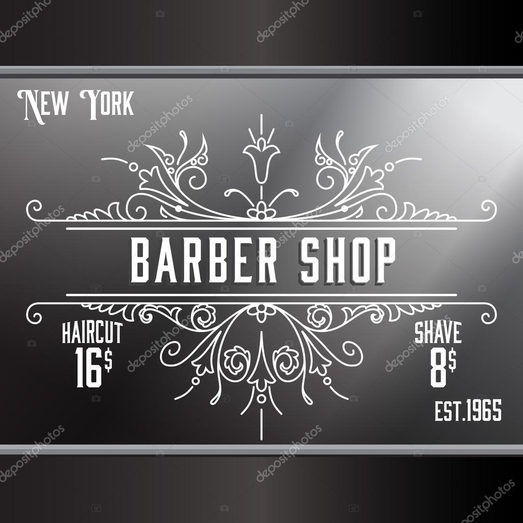 Vintage barber shop window advertising template. — Stock Vector ...