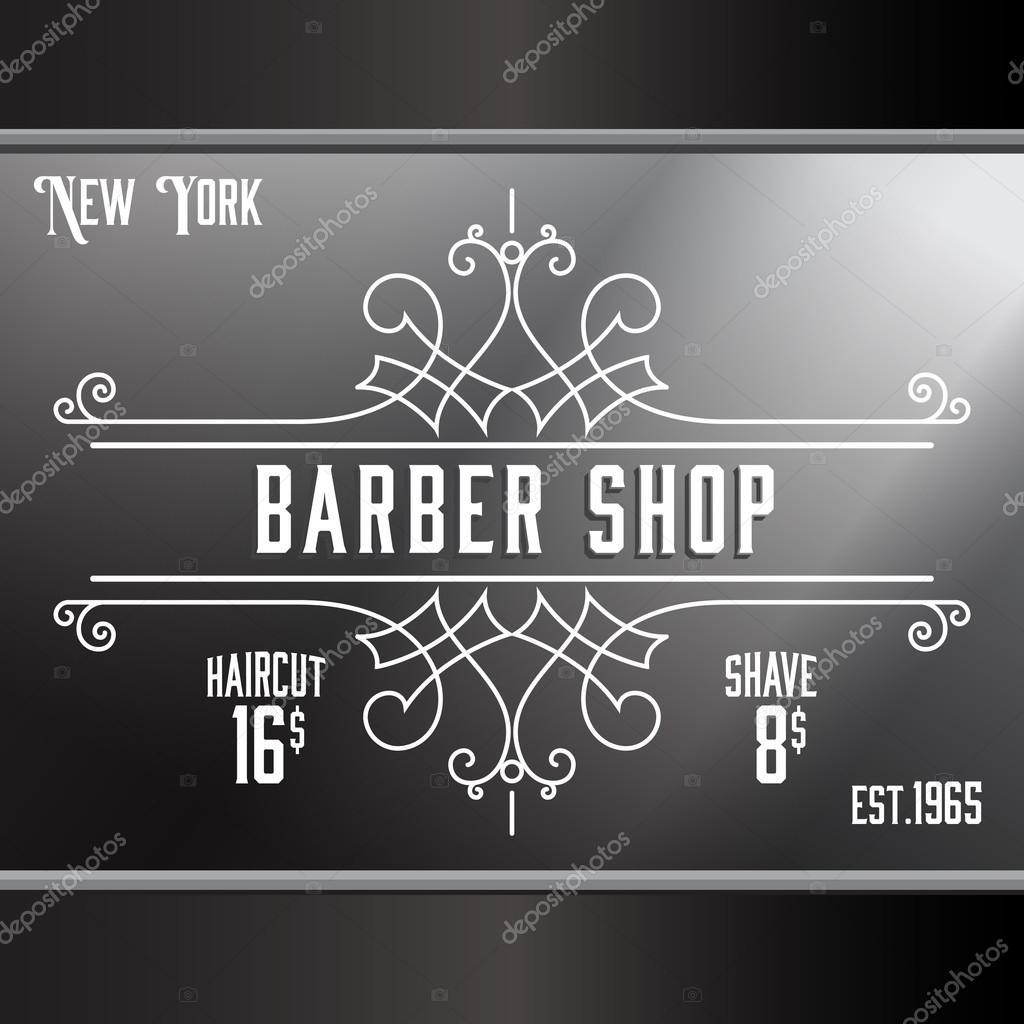 Old barber shop window - Vintage Barber Shop Window Advertising Template Stock Vector 77412260
