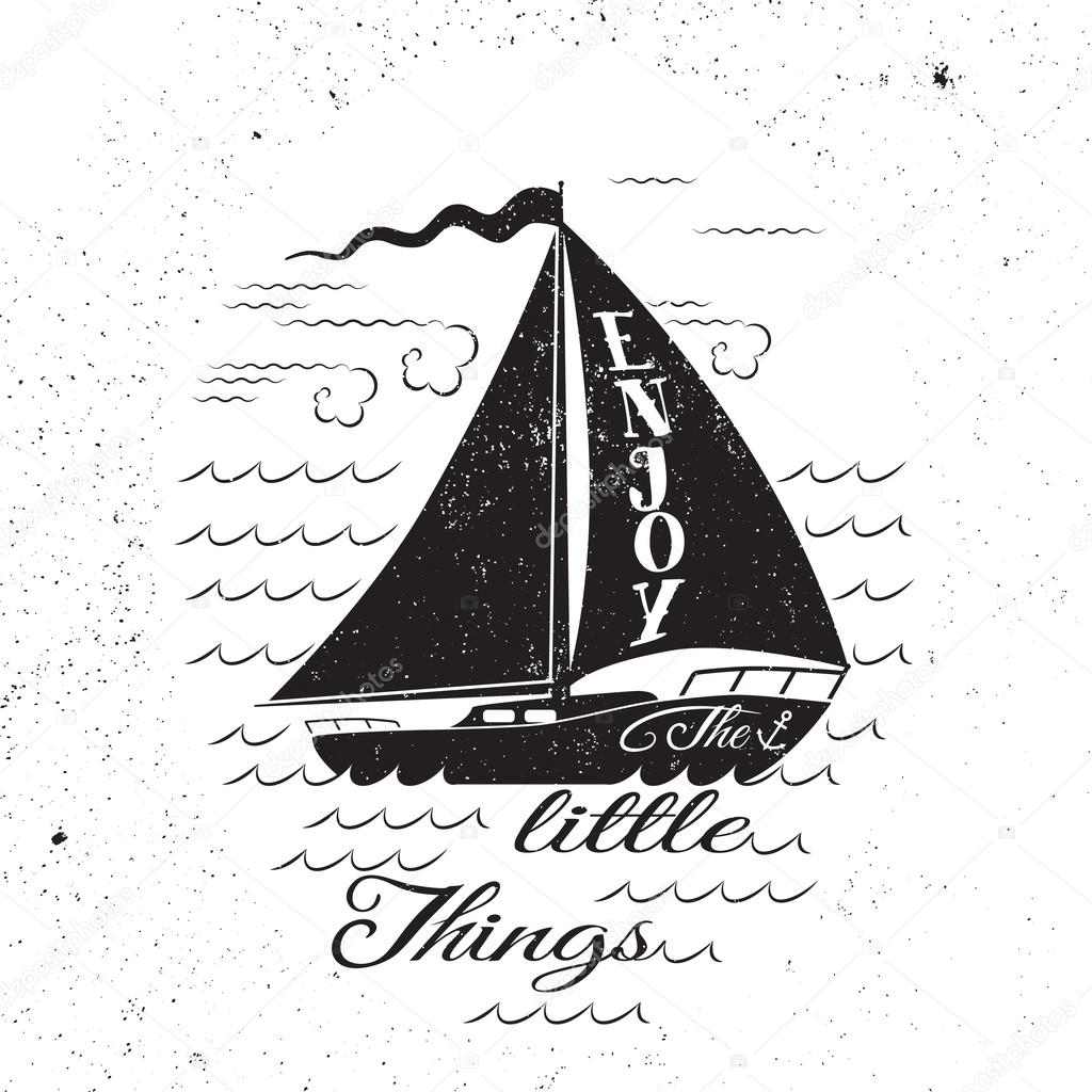 Enjoy the litttle things. Hand drawn inspirational poster.