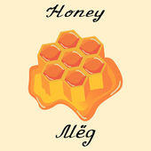 Honey. Vector drawing and hand-lettering. In English and Russian texts.