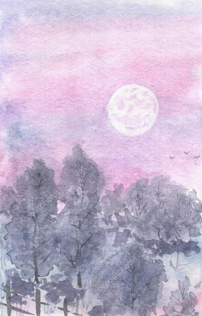 Watercolor landscape moonlit night