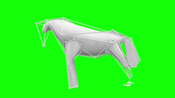 Scultping White ,surreal Horse On A Green Screen