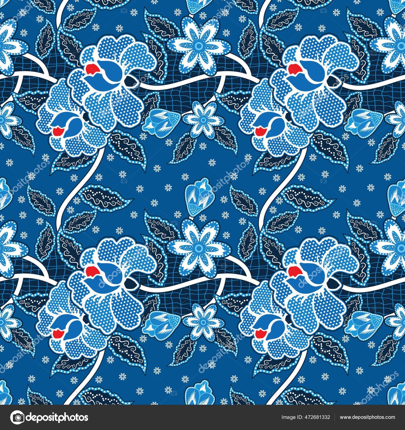 Seamless Pattern Floral Vector Illustration Traditional Batik ...