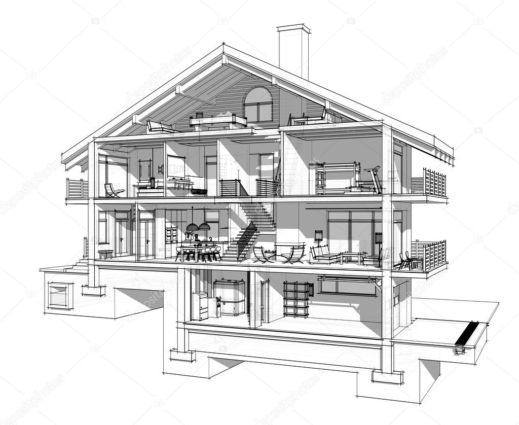 3d section of a country house. Isolated on white background