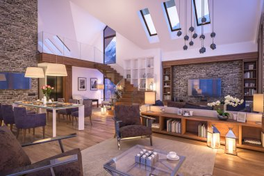 3D rendering of evening living room of chalet