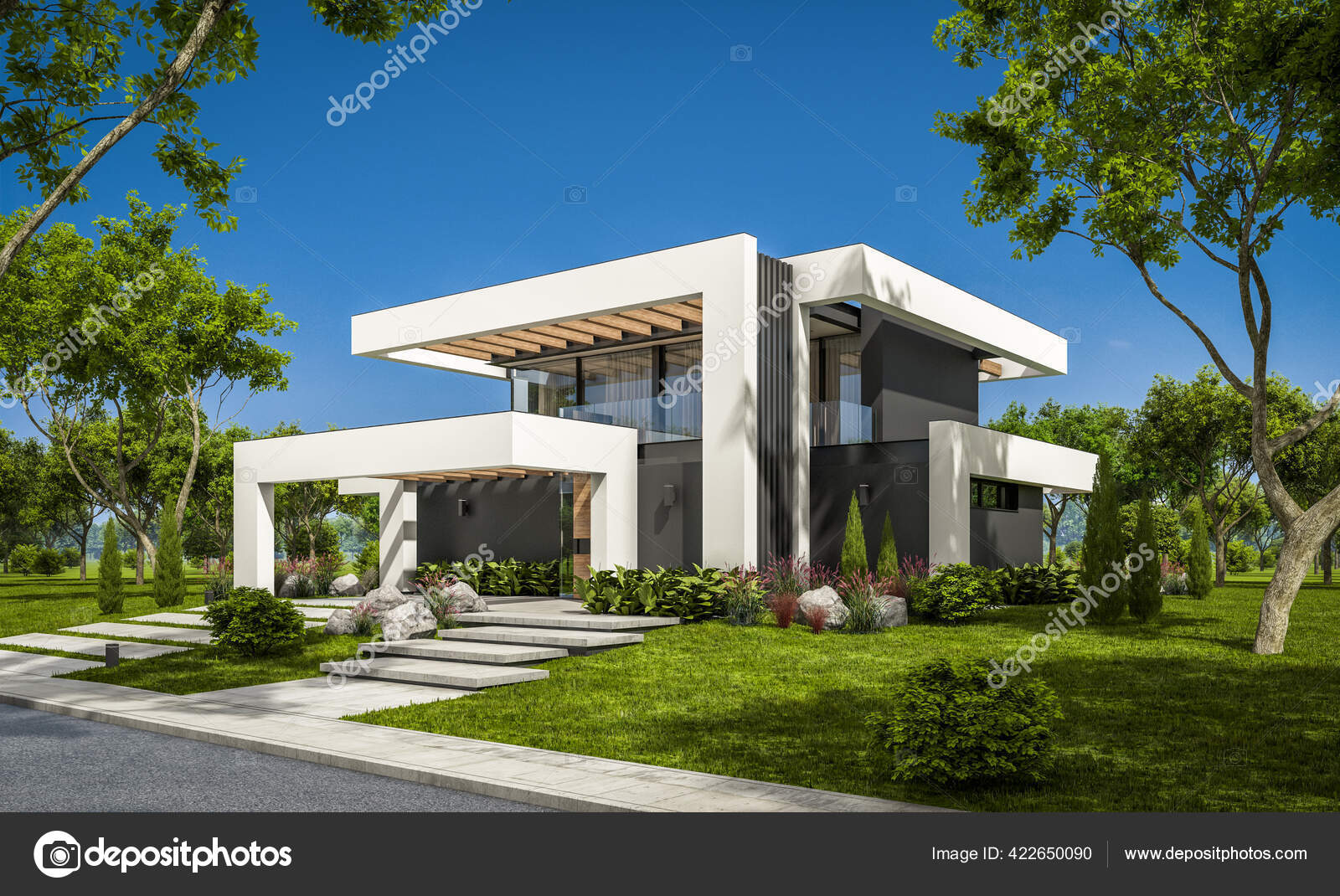 Rendu Maison Confortable Moderne Avec Piscine Parking Vendre Louer Dans Image Libre De Droit Par Korisbo Gmail Com C 422650090