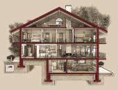 Fényképek 3D-s szakaszán egy vidéki ház