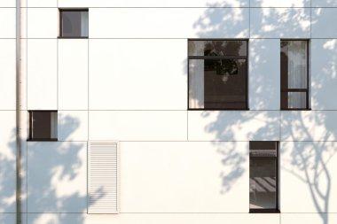 Evening facade of a modern building