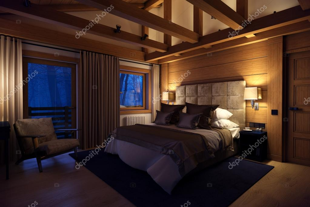 Casa camera da letto di rendering 3D in montagna — Foto Stock ...