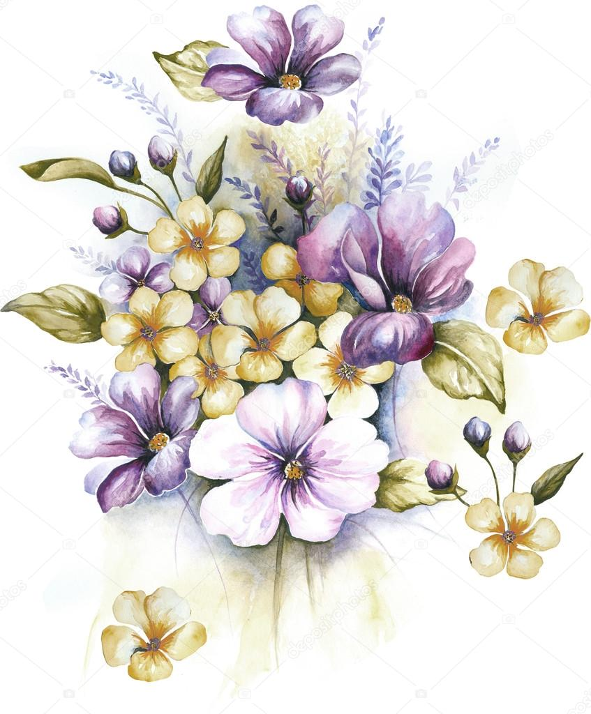 hand painted flowers bouquet — Stock Photo © dafdes #77742376