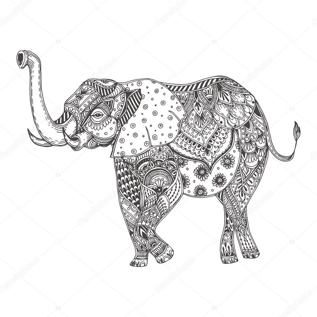 Handgezeichnete Elefant — Stockvektor © Moskoviya #107127010