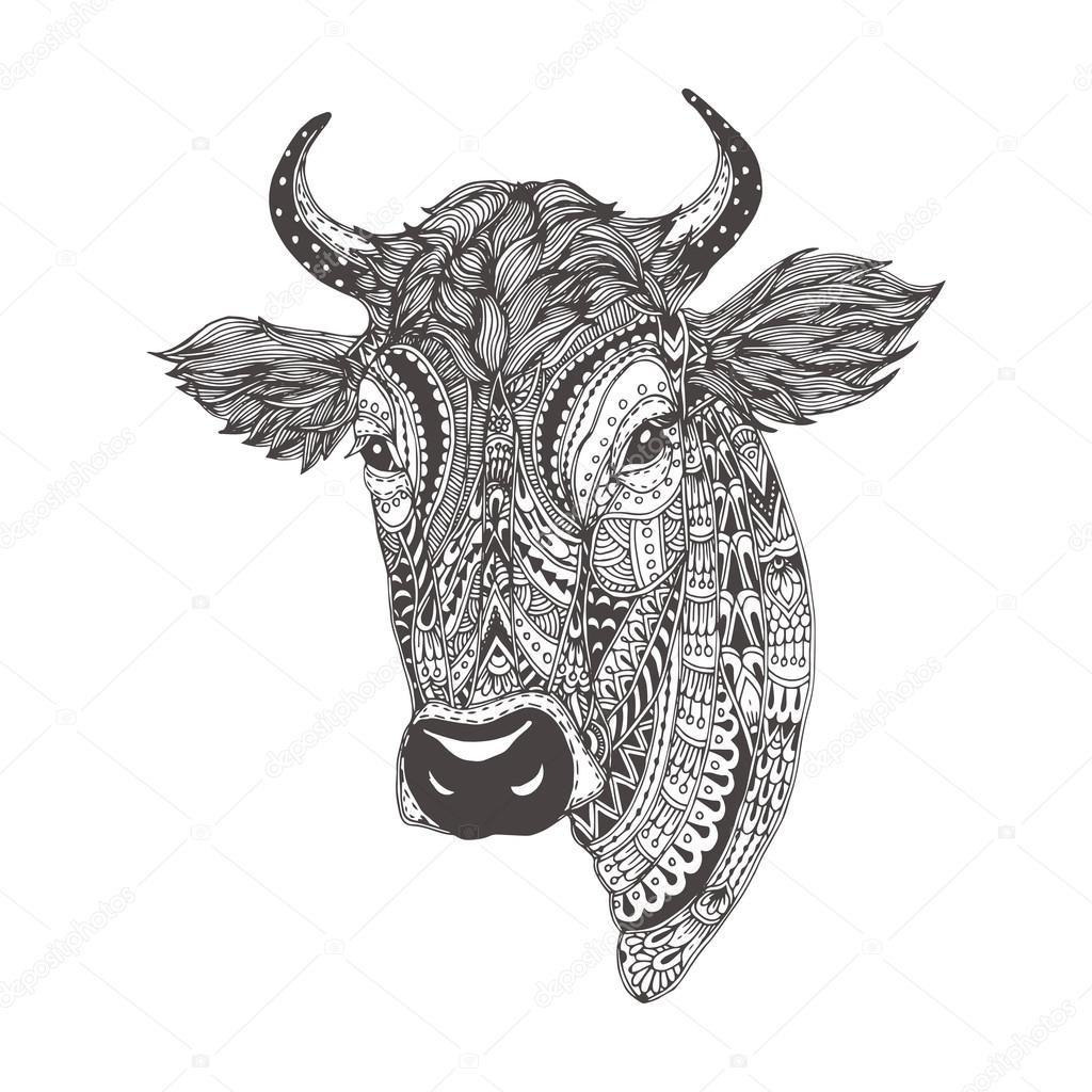 Kleurplaten Voor Volwassenen Koeien.Handgetekende Koe Stockvector C Moskoviya 107131346