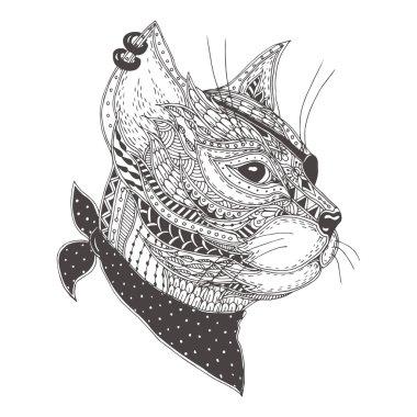 Hand-drawn cat .