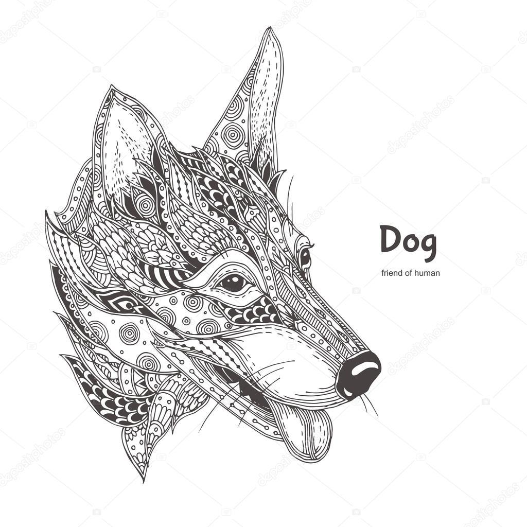 Kleurplaten Honden Voor Volwassenen.Hond Boek Kleurplaat Stockvector C Moskoviya 112743270