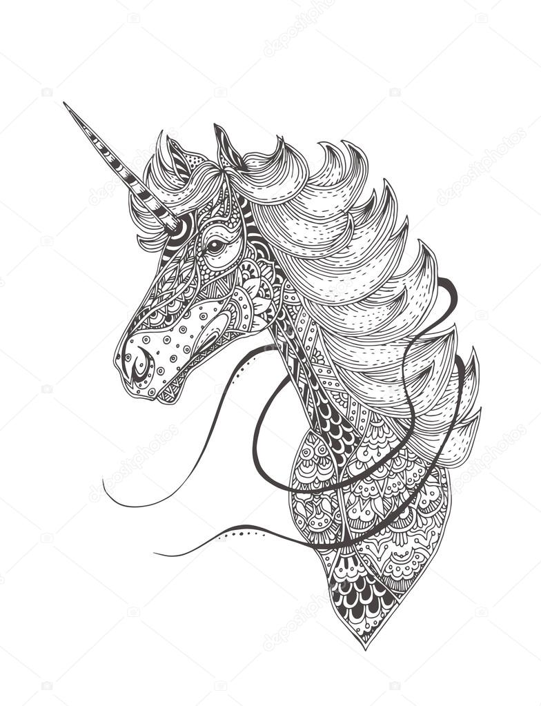 Unicorn Coloring Book Page Stock Vector C Moskoviya 112744498