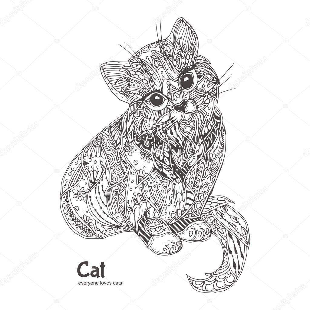 Süße Katze. handgezeichnete — Stockvektor © Moskoviya #115999146