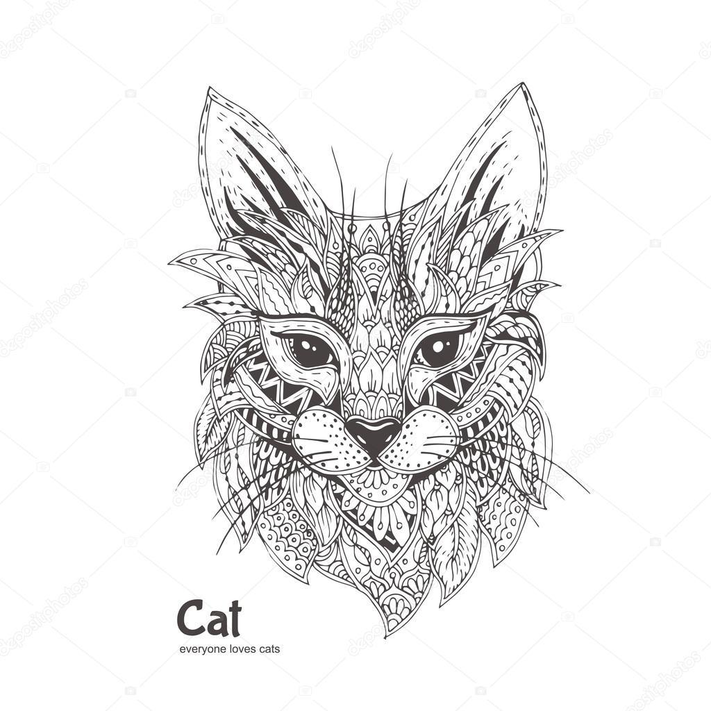 Süße Katze. handgezeichnete — Stockvektor © Moskoviya #115999156