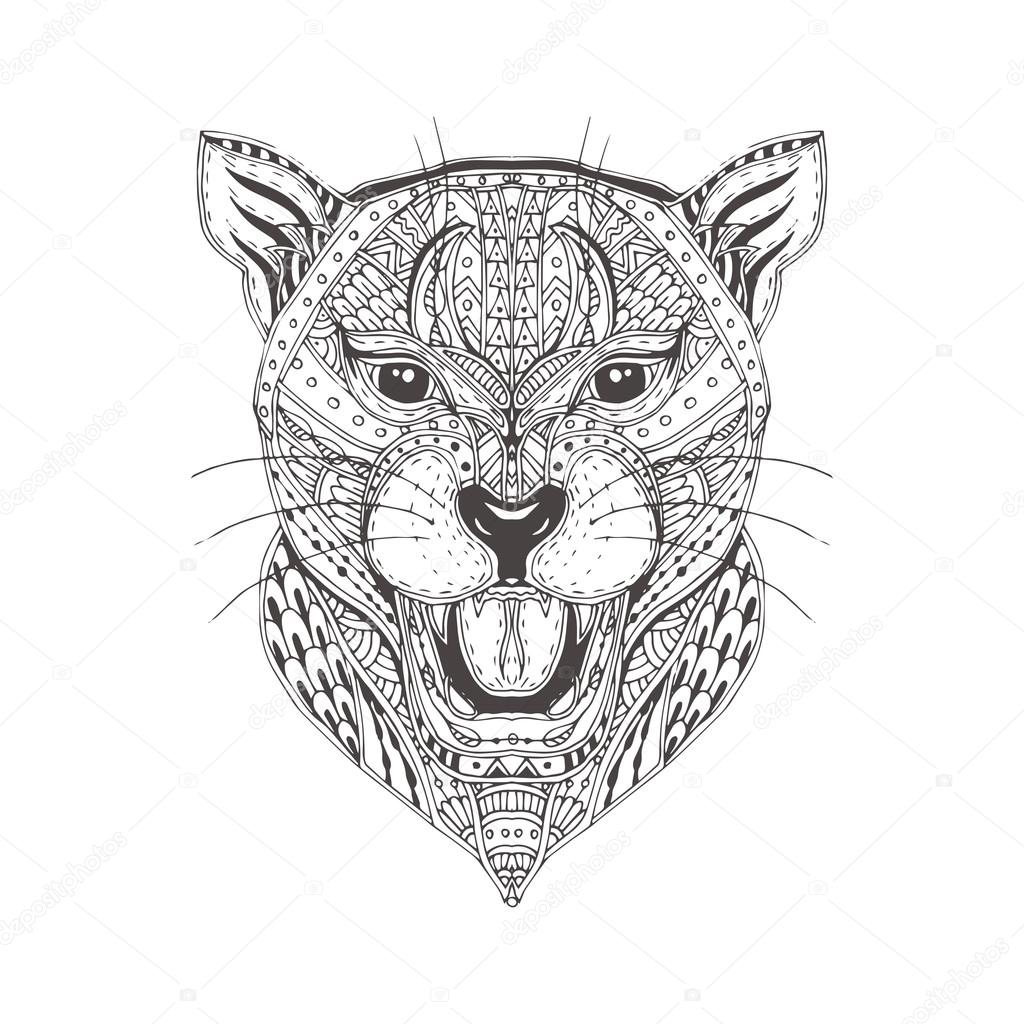 Hand Drawn Panther With Ethnic Floral Doodle Pattern Coloring Page