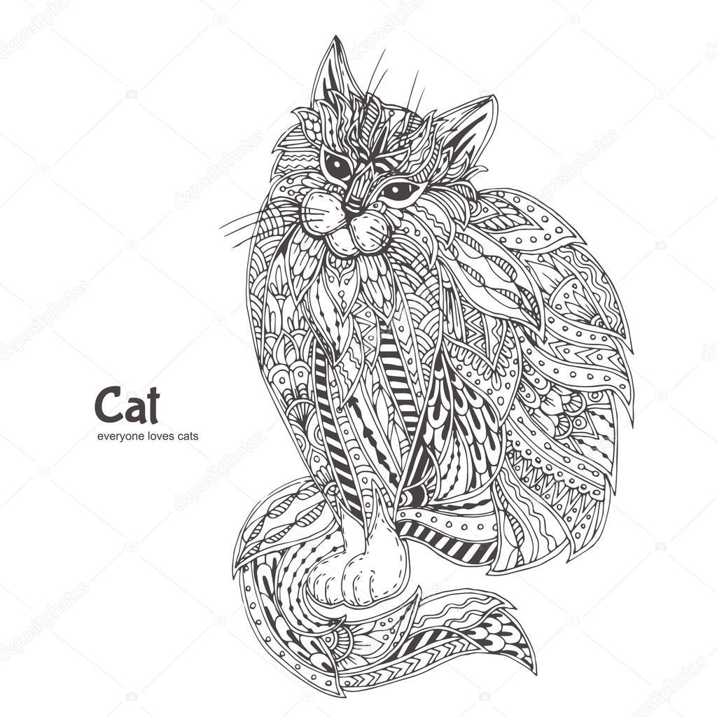 Süße Katze. handgezeichnete — Stockvektor © Moskoviya #115999300