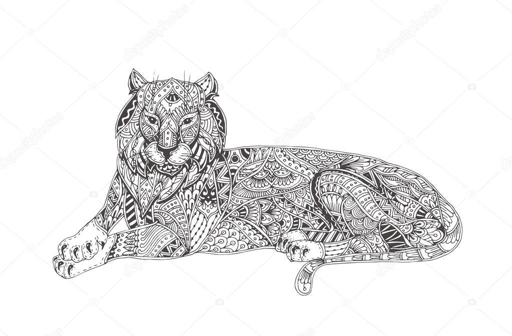 handgetekende tijger stockvector 169 moskoviya 115999318
