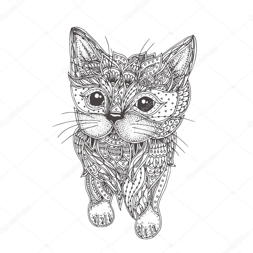 Katze. handgezeichnete — Stockvektor #115999370