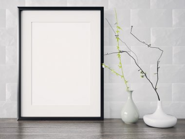 Empty modern style frame on composition wall as concept stock vector