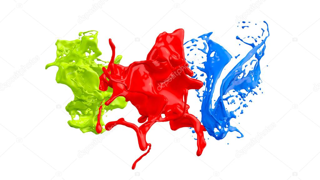 colored paint splashes