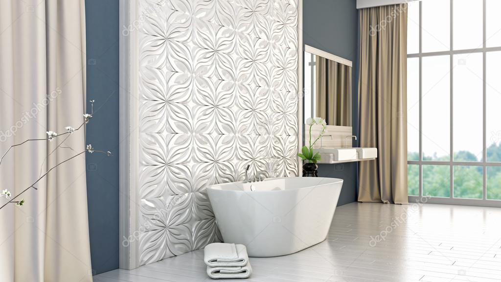 Nowoczesna łazienka Jasna Render 3d Zdjęcie Stockowe
