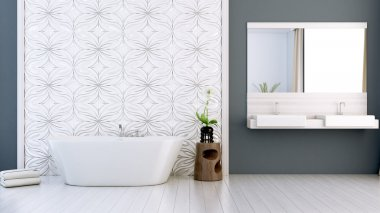 modern bright bathroom 3D render