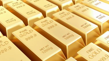 Golden bars isolated