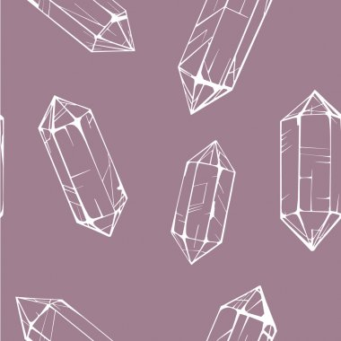 Seamless pattern with white crystal gems