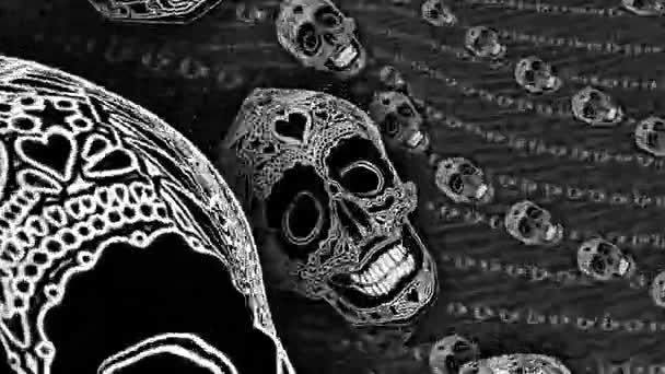 Spirál halloween elvont háttér. Zökkenőmentes animáció fekete-fehér tetovált koponyák egy forgás.