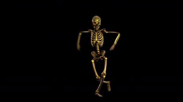 Bezešvé elegantní animace zlatý kov tančící kostra s lesklým výšivkovým vzorem. Vtipné halloween tmavé pozadí s černou a zlatou texturou izolované