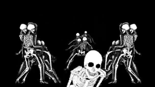 Animace strašidelných koster. Vtipné kreslené postavičky pro Halloween pozadí.
